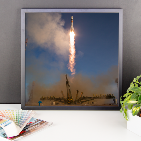 Space Art Framed Poster - Expedition 46 Liftoff - Traverse Space