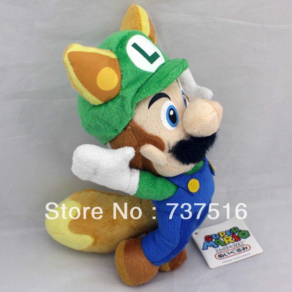 "Super Mario Bros 9"" Luigi Black Beard Stuffed Plush"