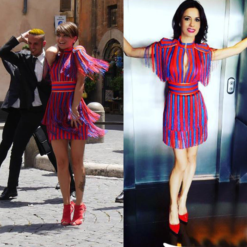 5f8a6abba3f ... Red and Blue Striped Tassel Fringe Celebrity Dress ...