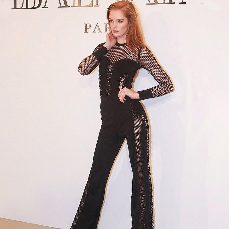 d39802e0e6a2 Alexina showcased her slender shape in a black mesh jumpsuit at the event. Alexina  Black Mesh Jumpsuit ...