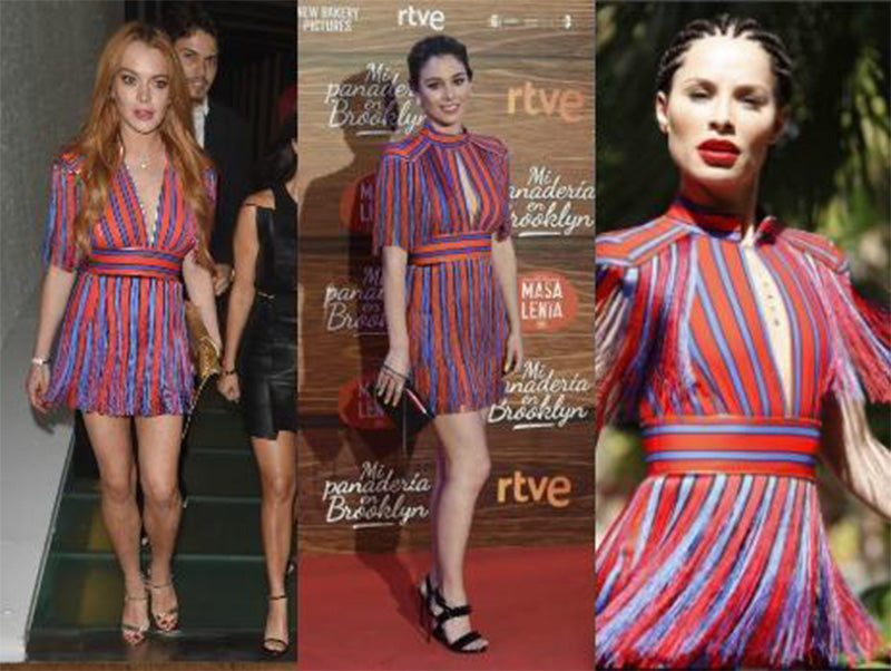 929158e4f839 Red and Blue Striped Tassel Fringe Celebrity Dress ...