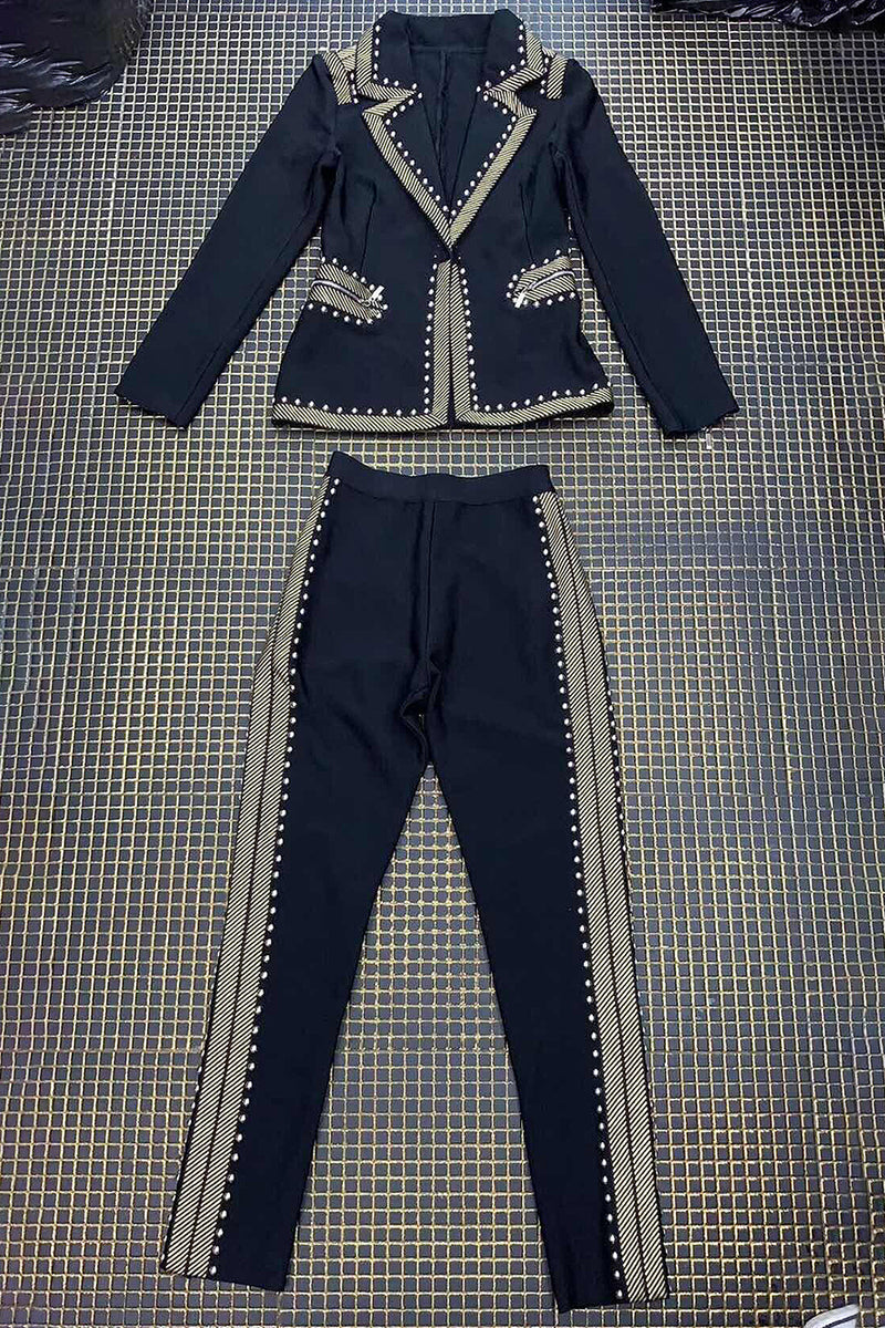 Fashion Luxe Workmanship Studs Embellished Two Pieces Tops Pants Suit - CHICIDA