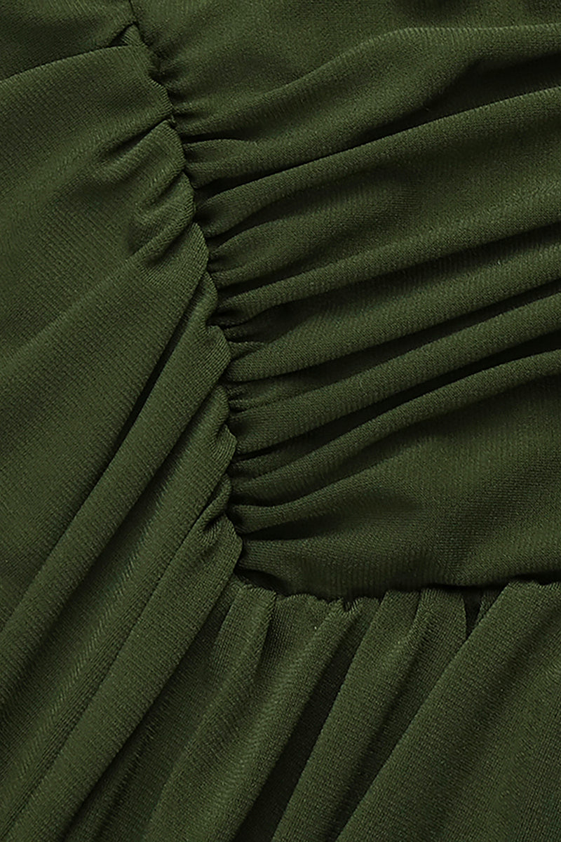 Army Green Halter Strappy Pleated jumpsuits