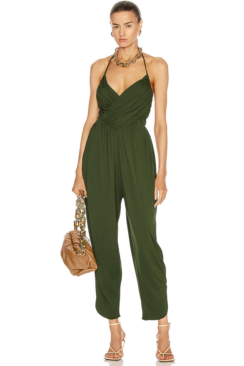 Army Green Strapy With Cross-Back Slits Slim Dress