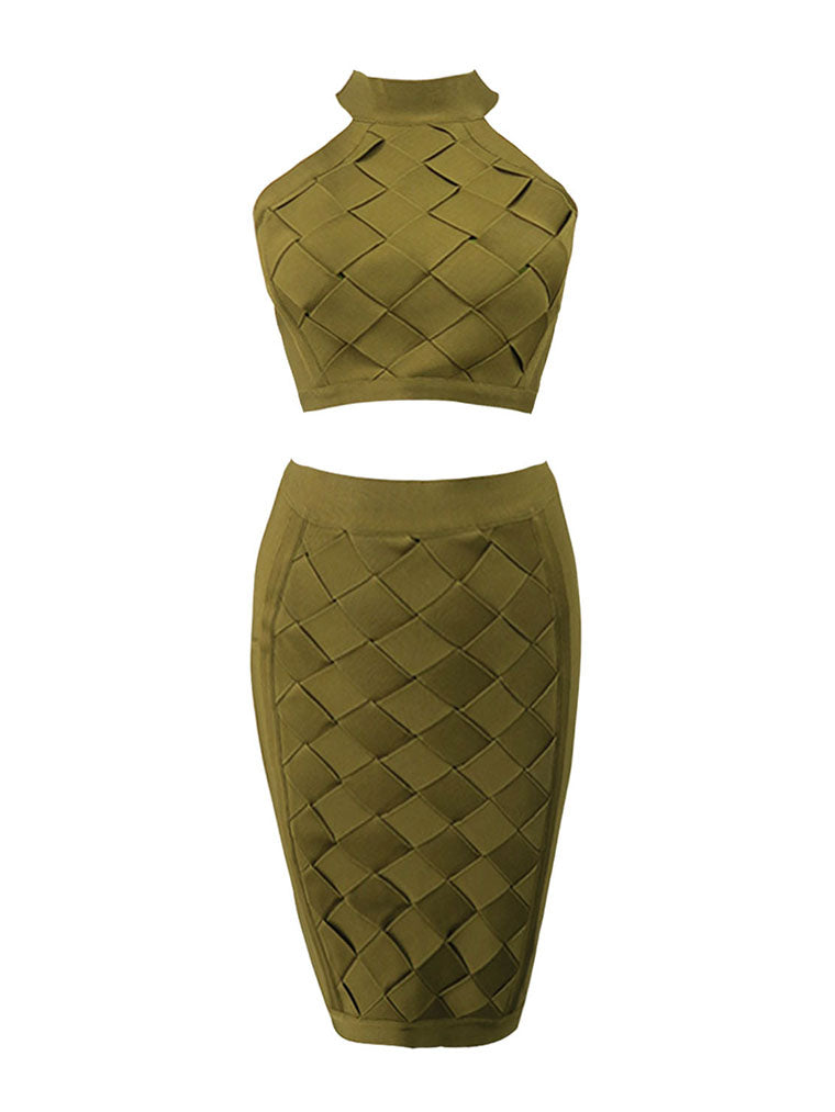 Lattice Weave Detail Two Piece Bandage Dress - CHICIDA