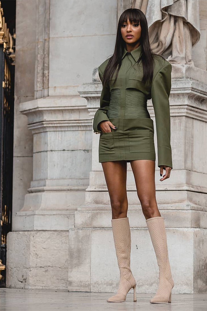 Notched Collar Long Sleeve Girdle High Mini Dress - CHICIDA
