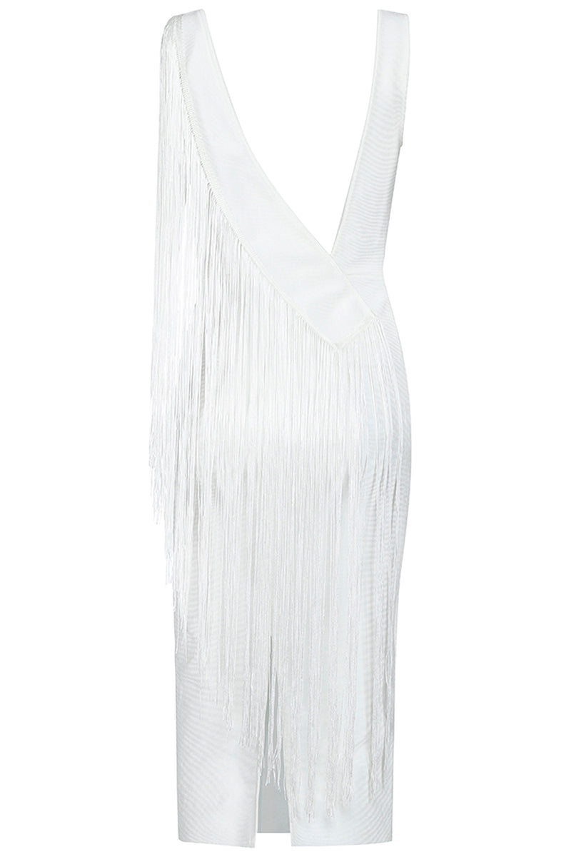 White BandageTassel V Neck Club Party Knee Length Dress - CHICIDA