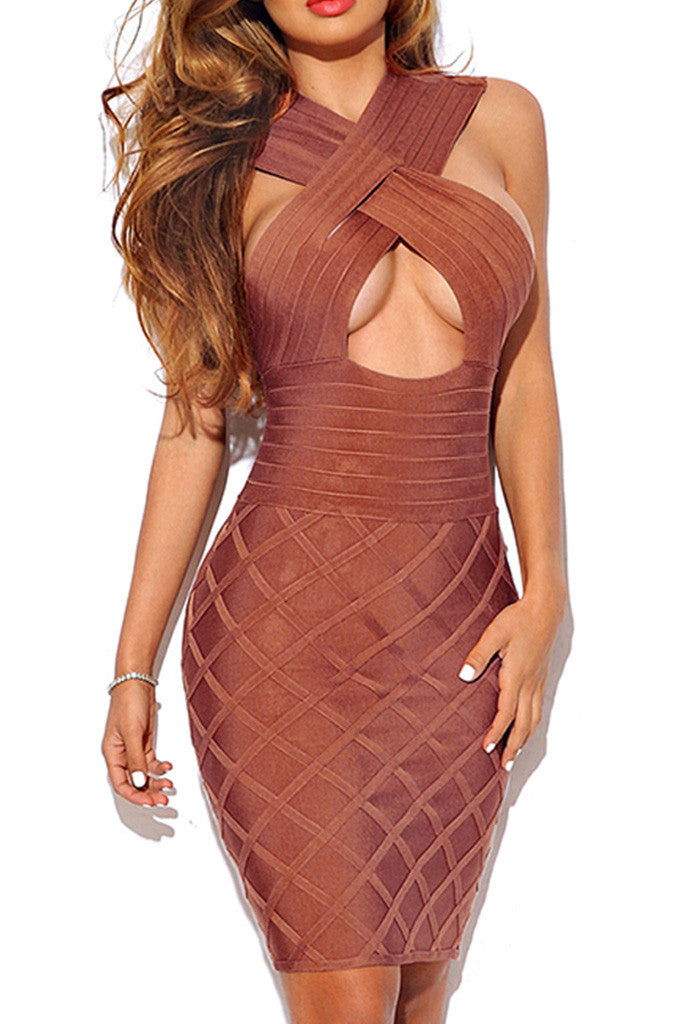 Cut Out Bodycon Bronze Bandage Dress - CHICIDA