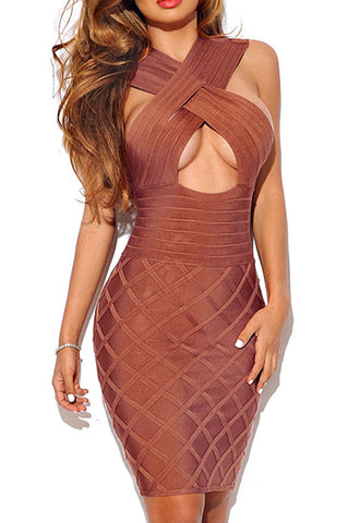 Long Sleeve Sexy Hollow Out Autumn  Lace Club Bandage Dress