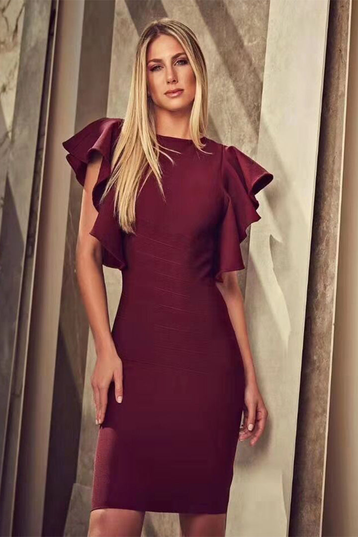 Wine Backless Ruffles Bandage Dress - CHICIDA