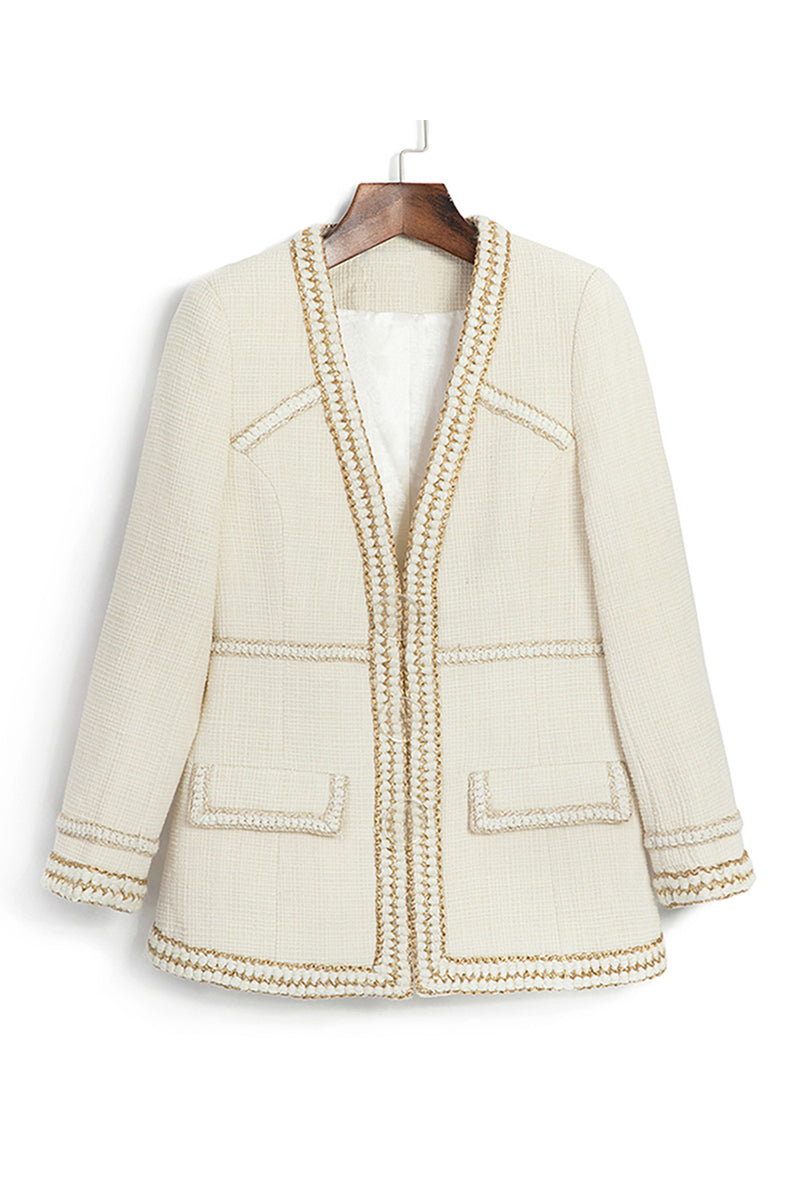 Beige Long Sleeve Embroidered Phnom Penh Lapel Jacket