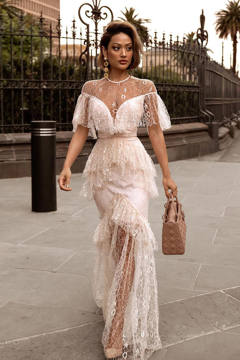 Beige Short Sleeve Mesh Lace Ruffles Maxi Long Dress