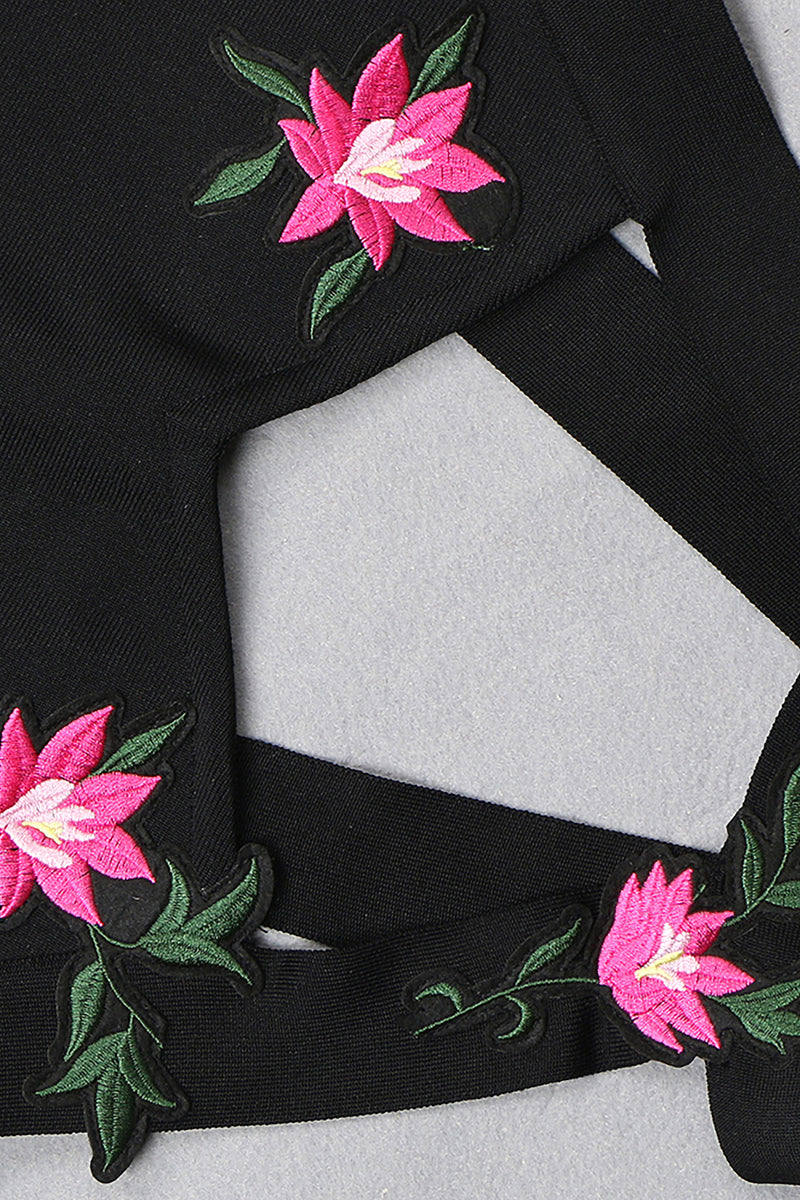 Black Bandage Halter Hollow Embroidered Flower Bodycon Dress