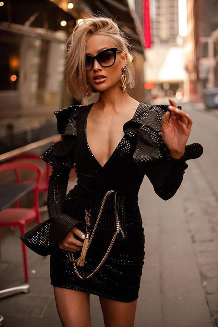 Black Sparkle Puff Sleeve Dress