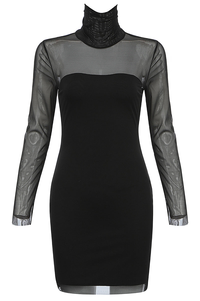 Black High Neck Long Sleeve Mesh Patchwork Bodycon Dress