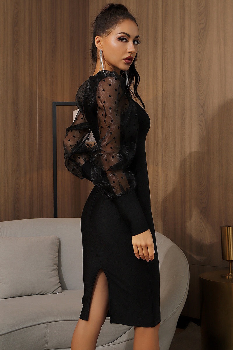 Black Mesh Dot Puff Sleeves Knee Length Bandage Dress
