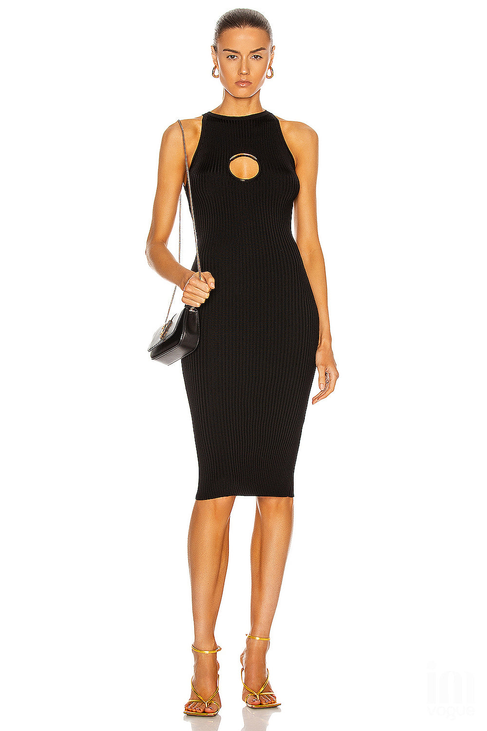 Black O-Neck Hollow Bodycon Bandage Dress