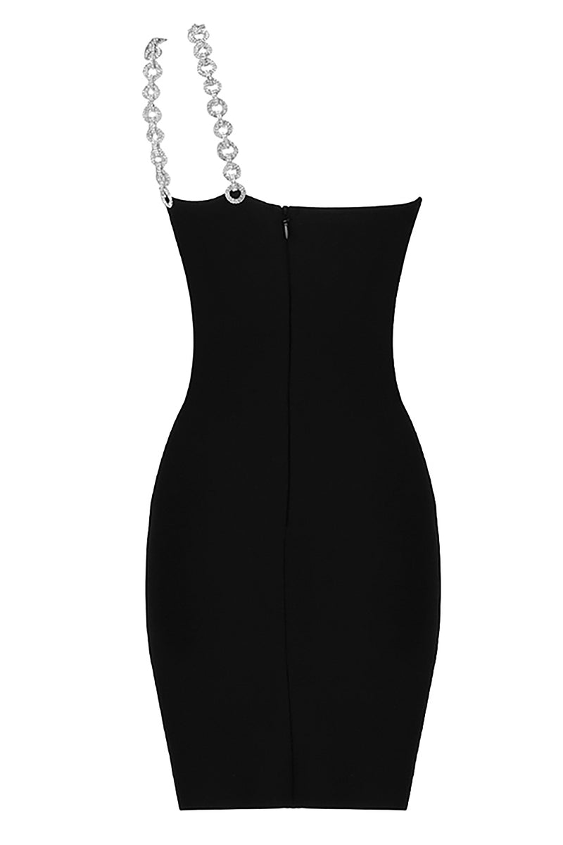 Black One Shoulder Diamond Strappy Bandage Dress