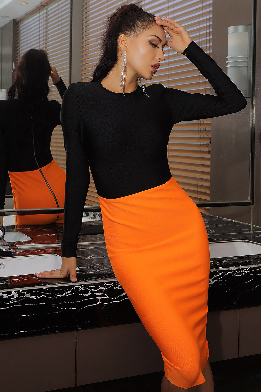 Black Orange Patchwork O-Neck Long Sleeves Bandage Dress