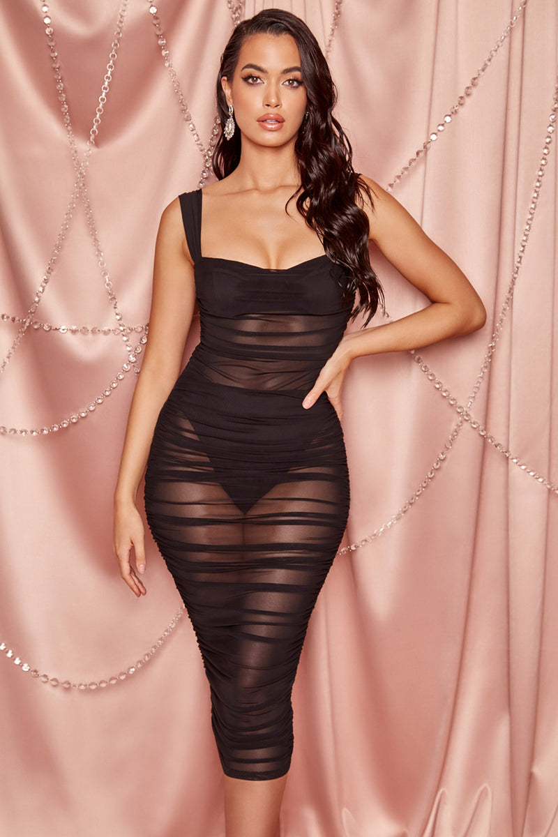 Spaghetti Strap Backless Draped Perspective Mesh Bodycon Club Party Dress - CHICIDA