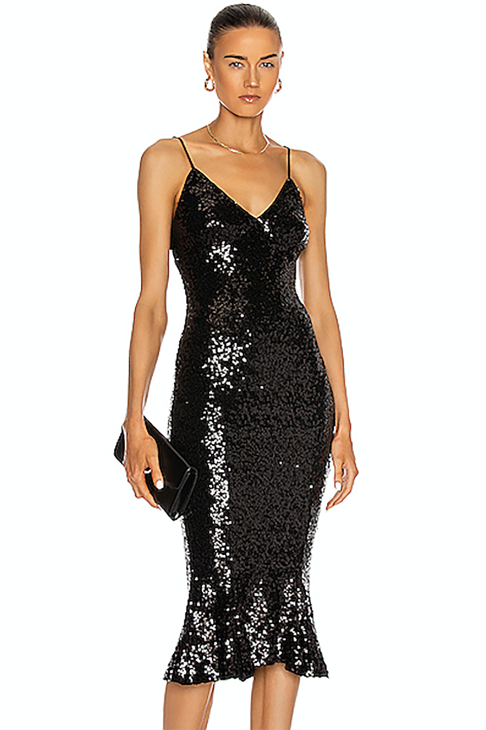 Black Sequins Strappy Ruffle Dress