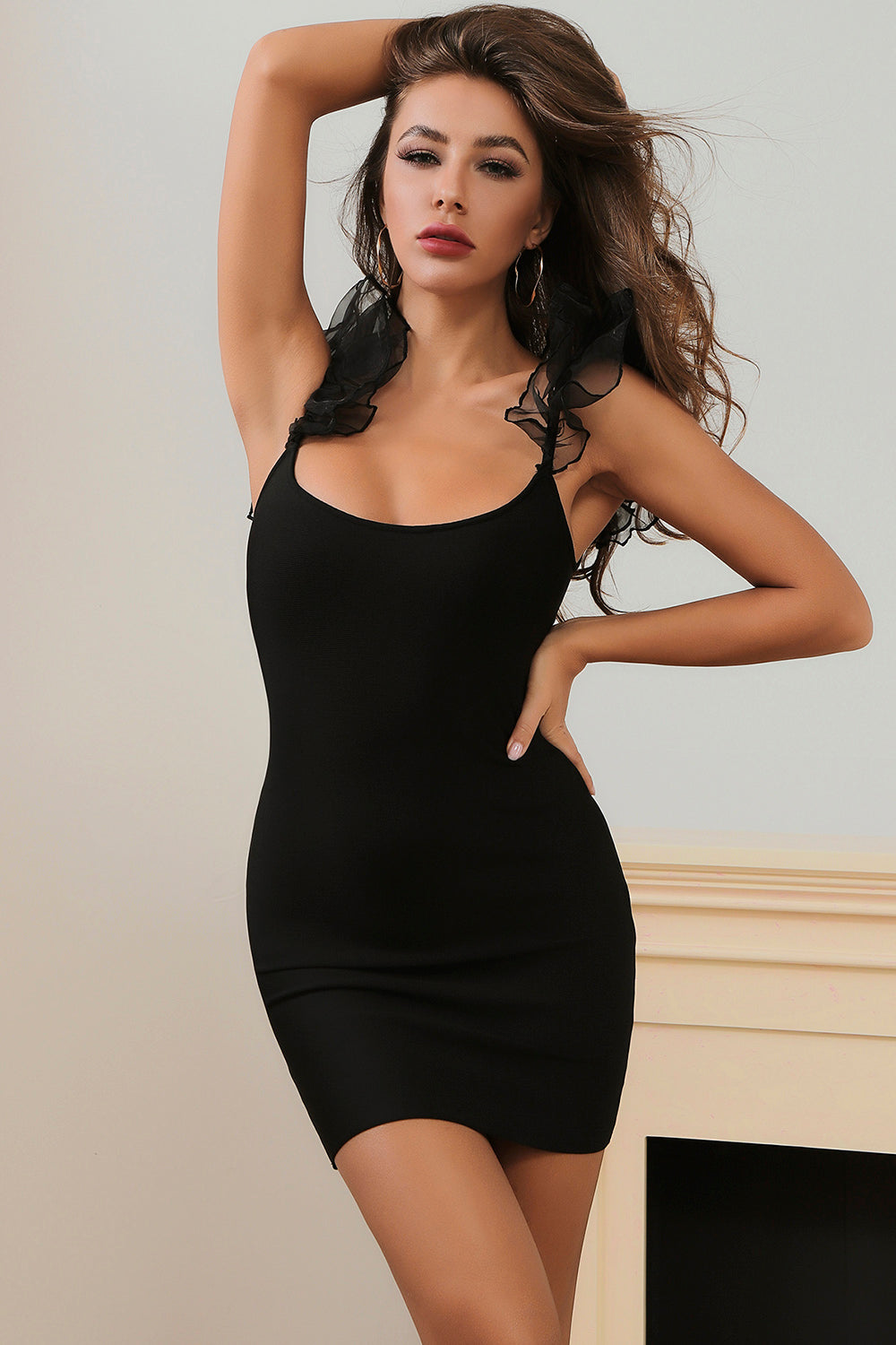 Black Spaghetti Strap Square Collar Bandage Dress - CHICIDA