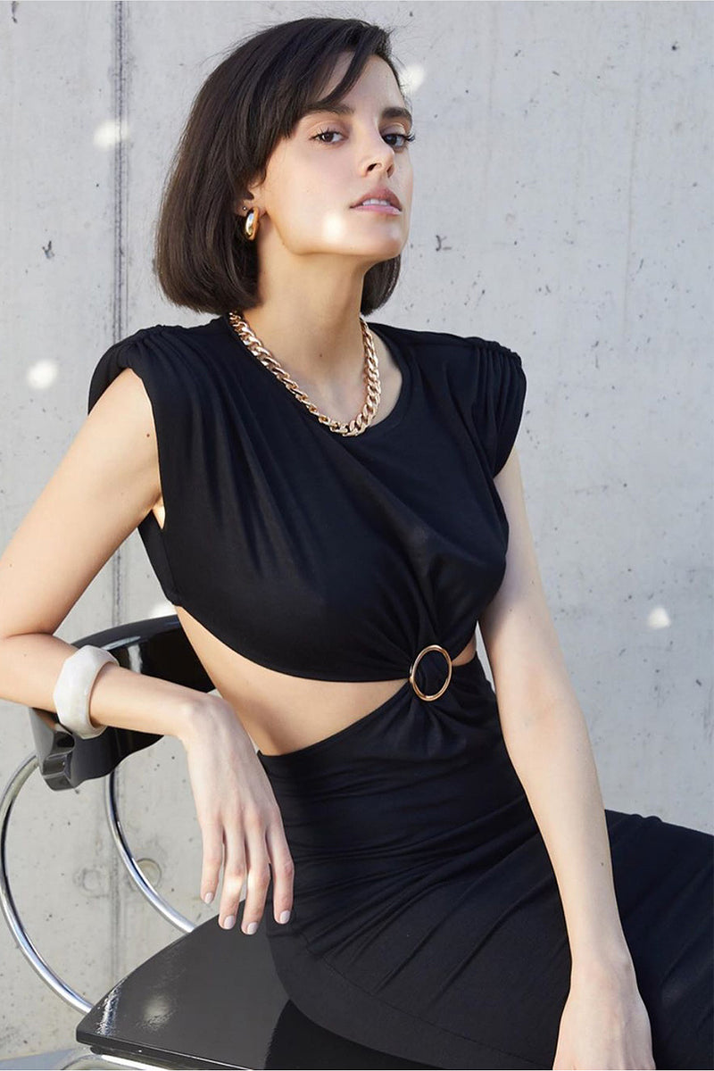 Black Sleeveless O-Neck Waist Hollow Midi Dress