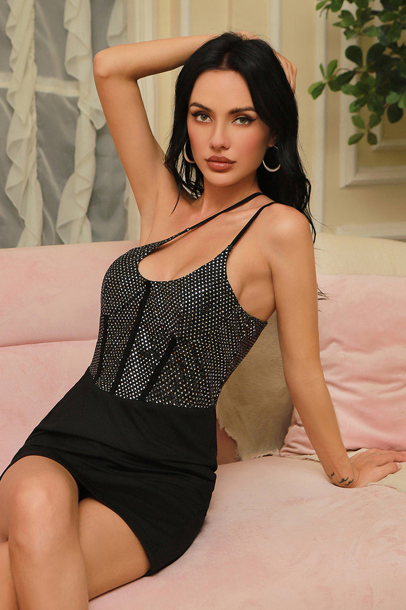 Black Sleeveless Spaghetti Strap Sequin Mini Dress
