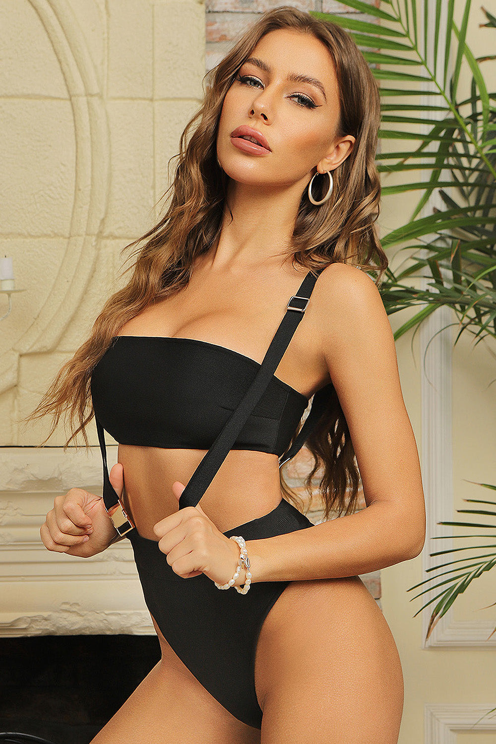 Black Strappy Buckle One Piece Hollow Bandage Swimsuit