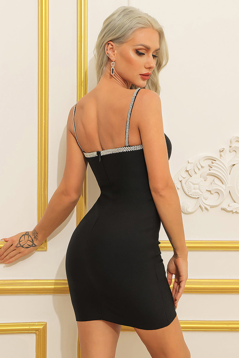 Black Strappy Sleeveless Diamond Bandage Dress