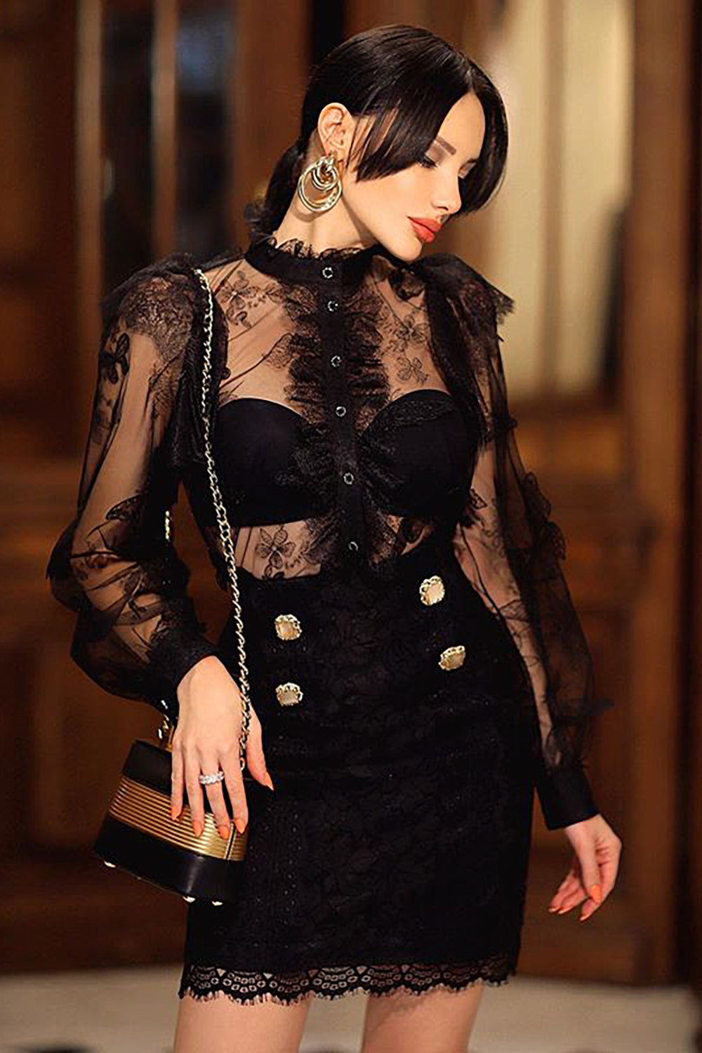 Black Two-Piece Suit See-Through Lace Stitching Top + Bandage Skirt