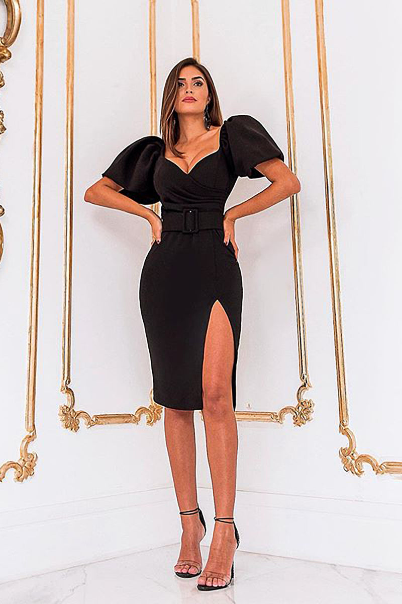 Deep V Neck Knee Length Short Lantern Sleeve With Belt Dress - CHICIDA