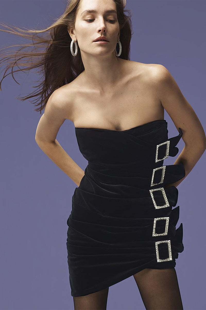 Sleeveless Diamond Button Draped Halter Black Velvet Dress
