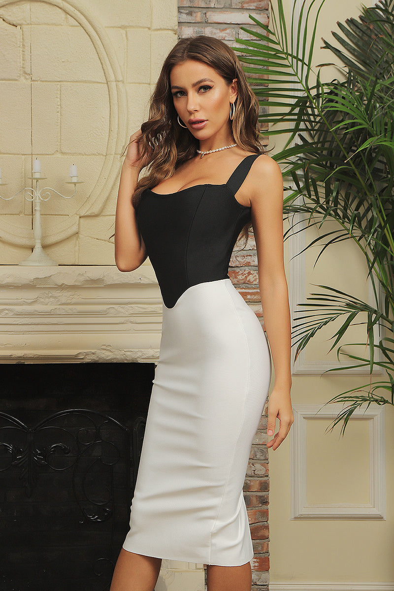 Black White Patchwork Off Shoulder Bodycon Bandage Dress