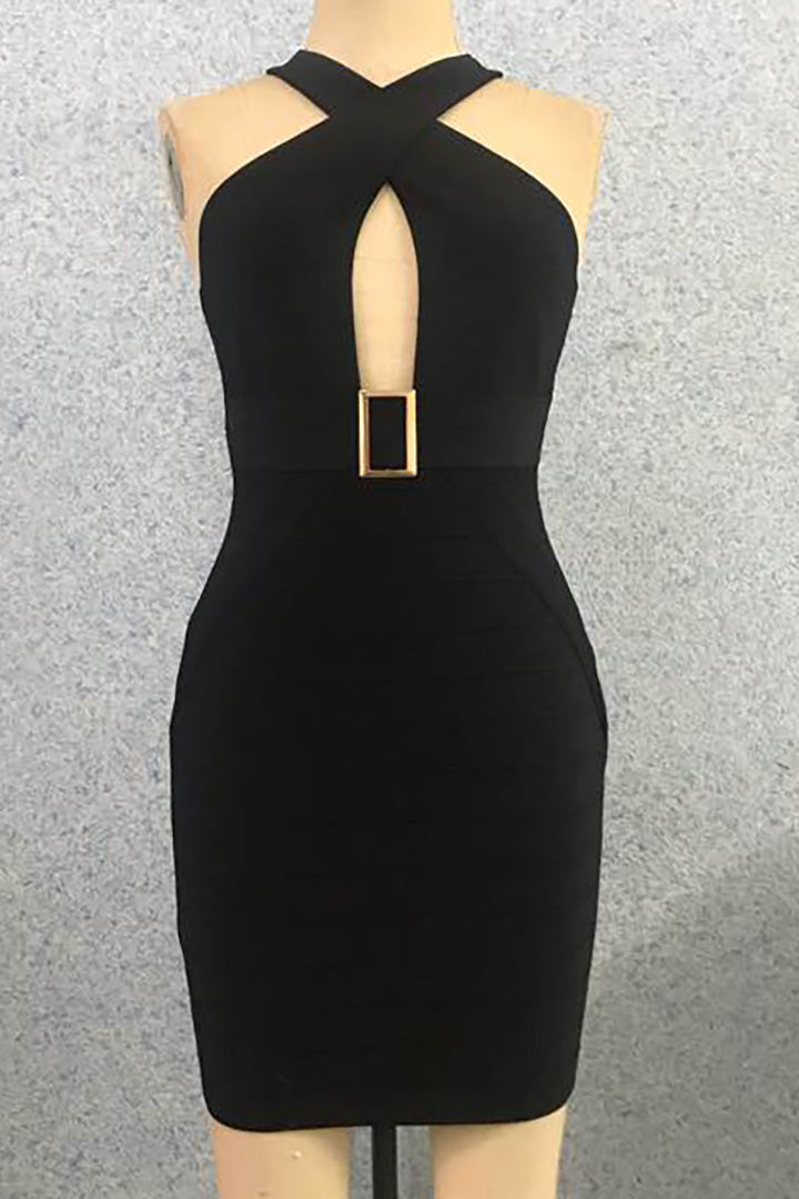 Black Halter Hollow Out Bandage Dress - CHICIDA
