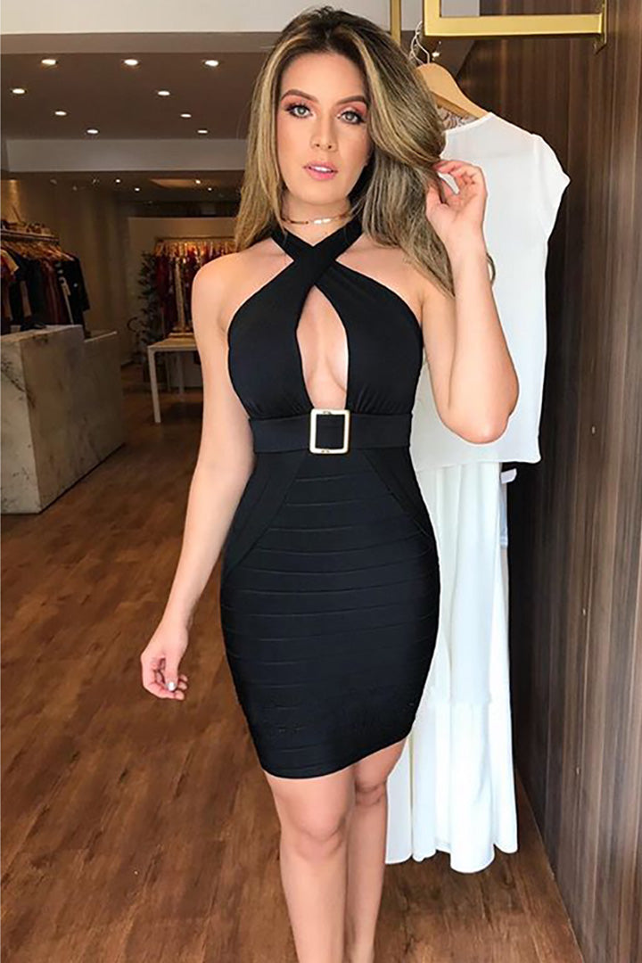 Black Strappless PU Gowns