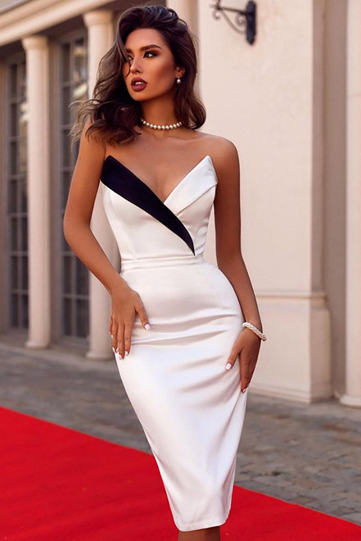 Strapless V-neck Party Midi Dress - CHICIDA