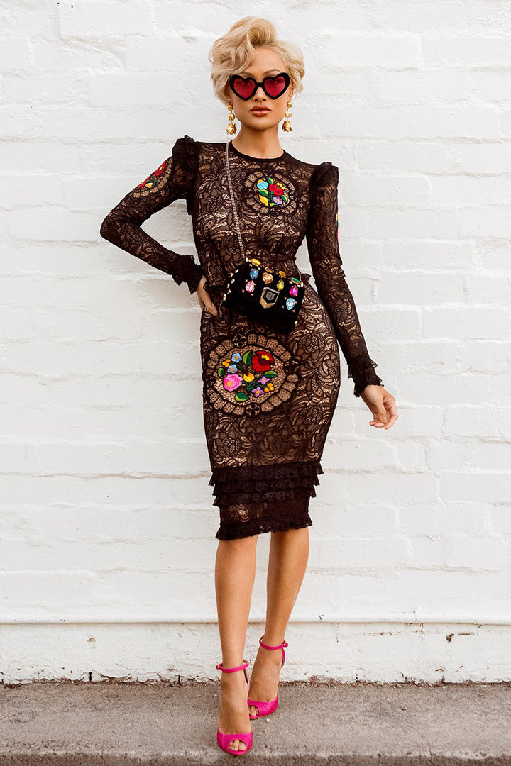 Black & Colourful Flowers Long Sleeve Lace Dress - CHICIDA