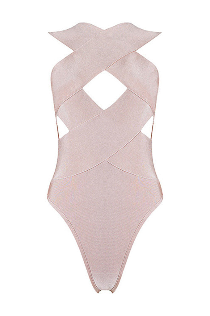 Cross Hollow Out Backless Sexy Bandage Bodysuits - CHICIDA
