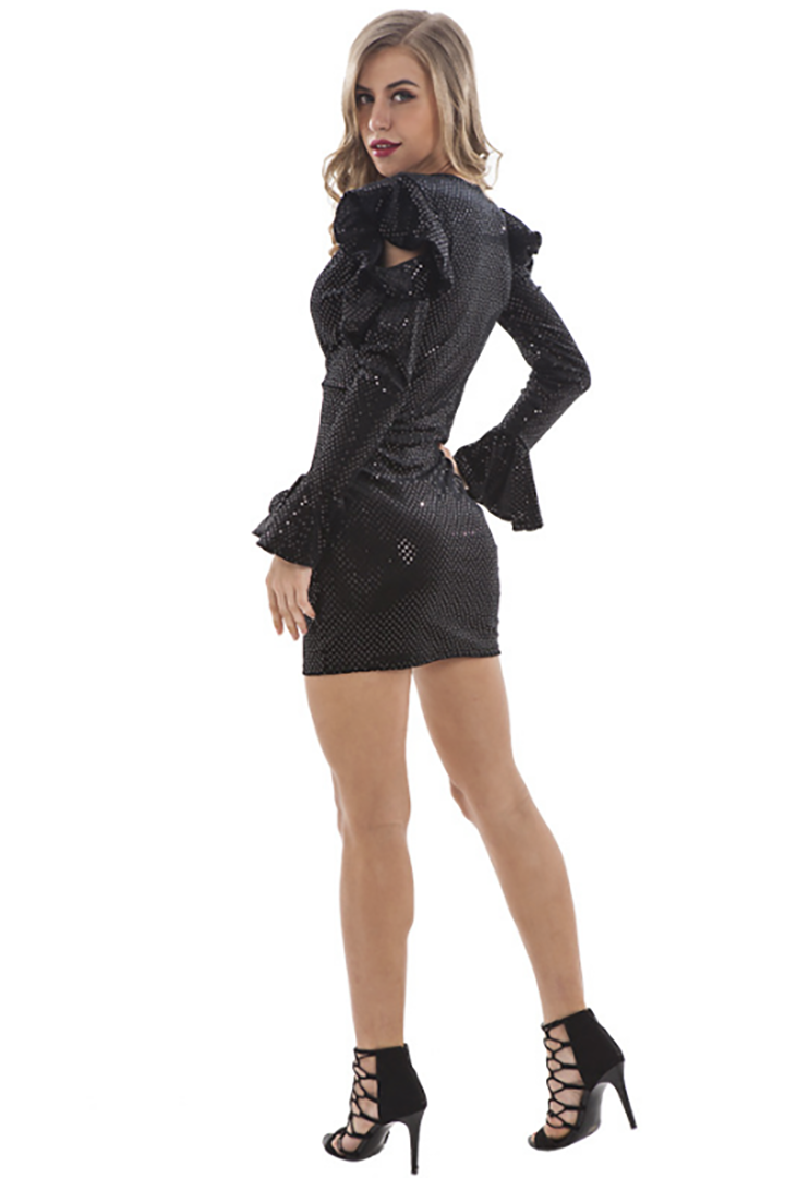 Black Deep V Sequin Bodycon Dress - CHICIDA