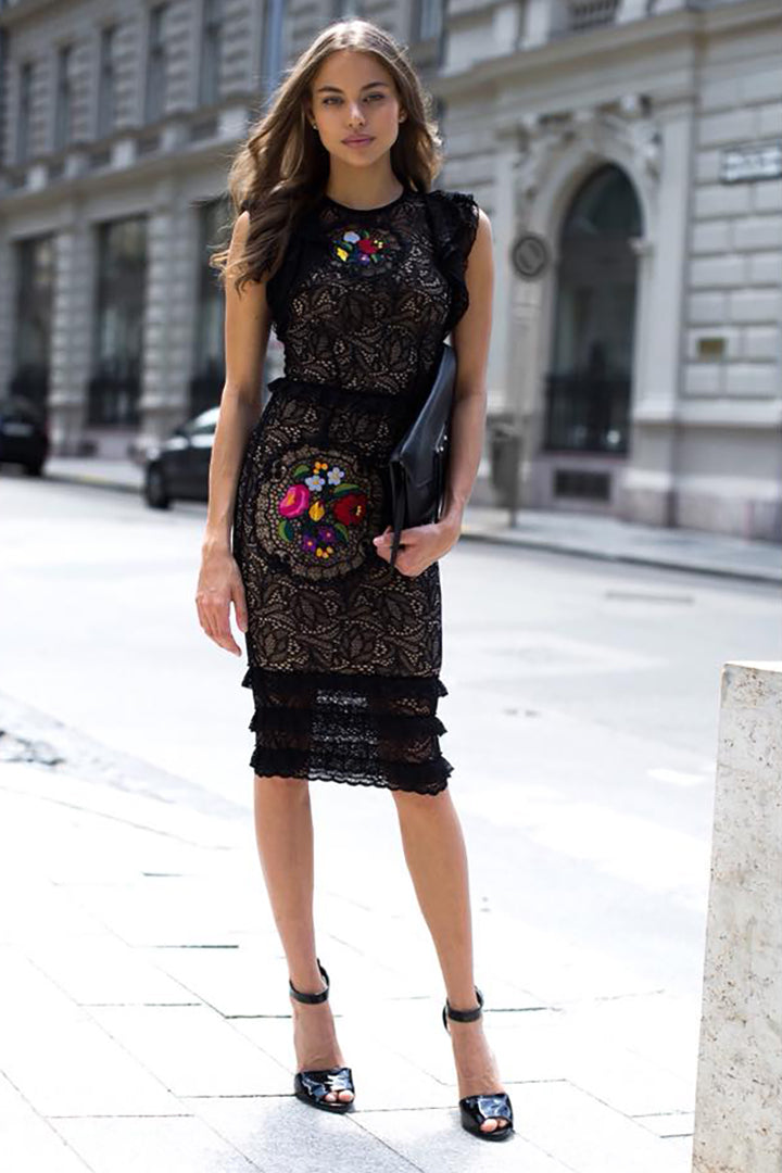 Colourful Flowers Lace Dress - CHICIDA
