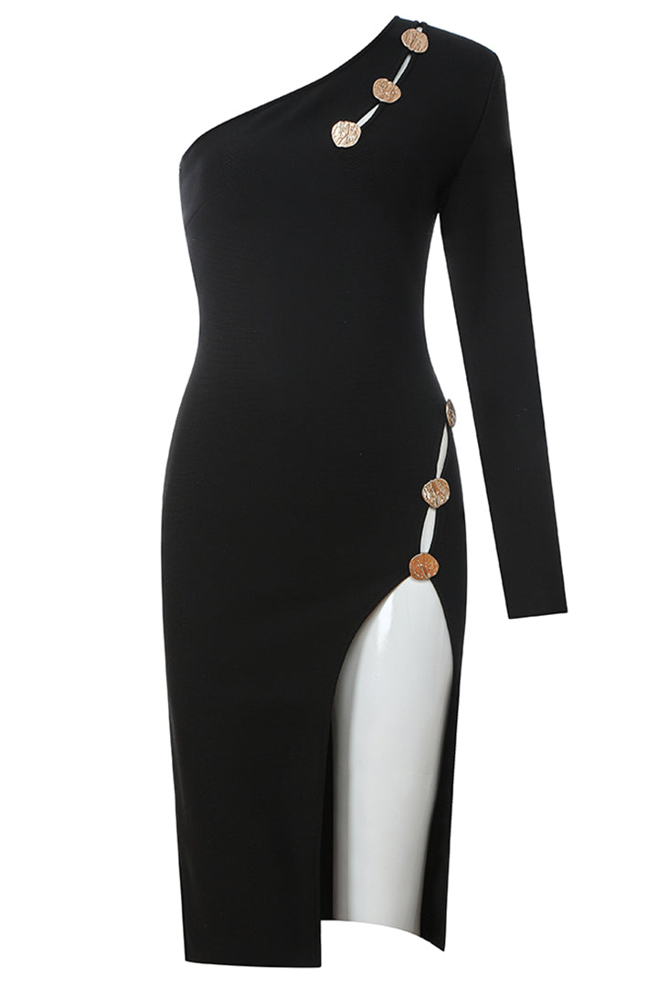 Button One Shoulder Long Sleeve Bandage Dress - CHICIDA