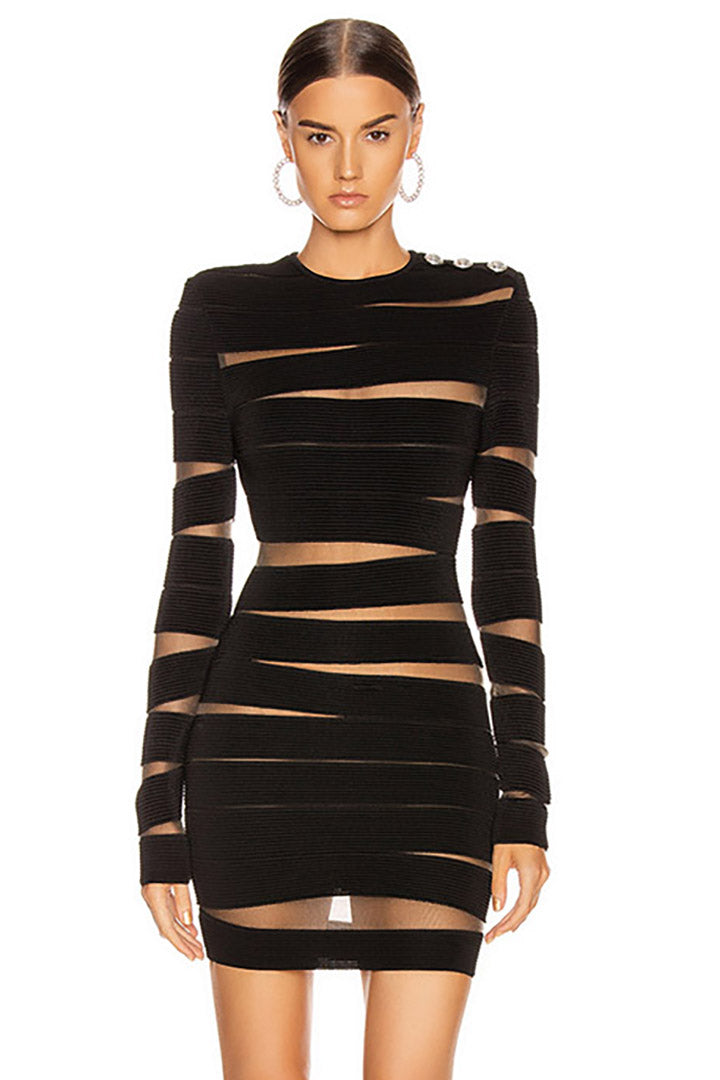 Black Long Sleeve Hollow Out Mesh Bandage Dress - CHICIDA