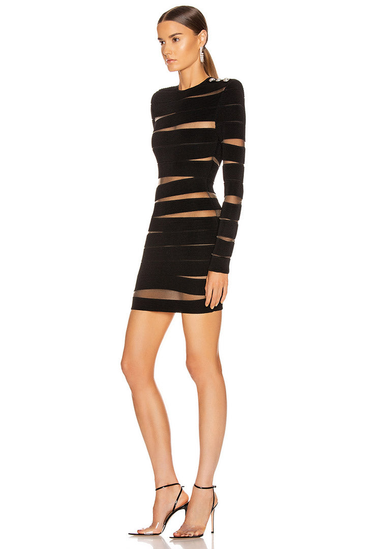 Black Long Sleeve Hollow Out Mesh Bandage Dress