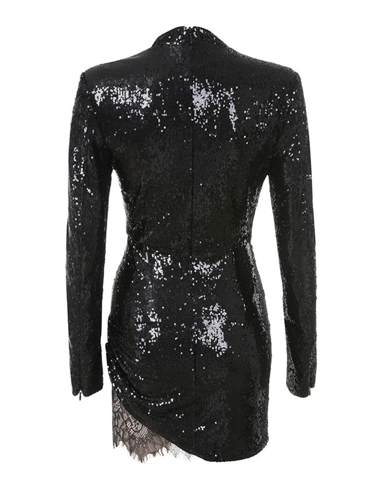 Black Sequin Lace Dress - CHICIDA