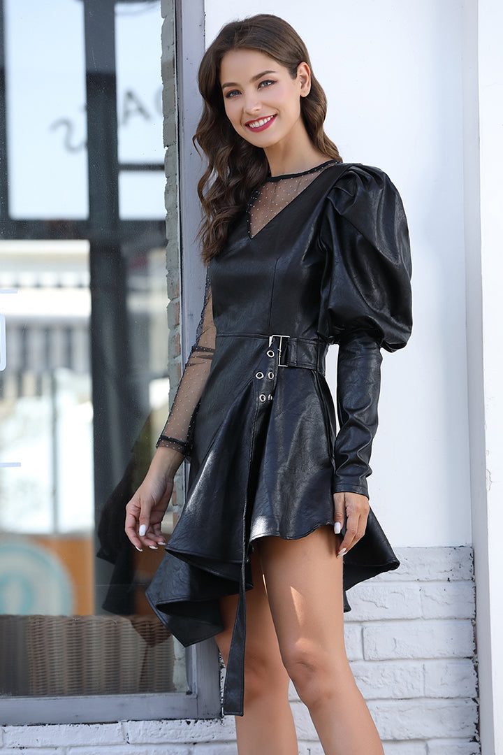 Black Mesh PU Ruffle Dress