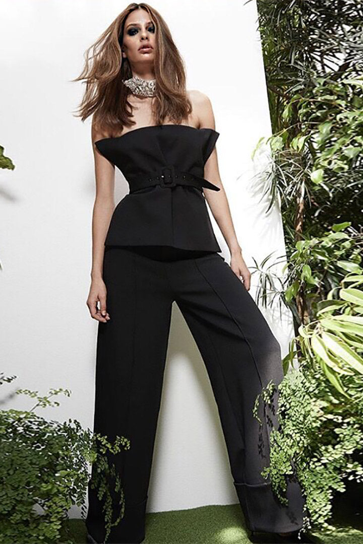 Off Shoulder Backless Ruffles Full Length Pant - CHICIDA