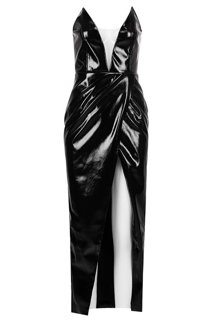 Black Strappless PU Gowns - CHICIDA