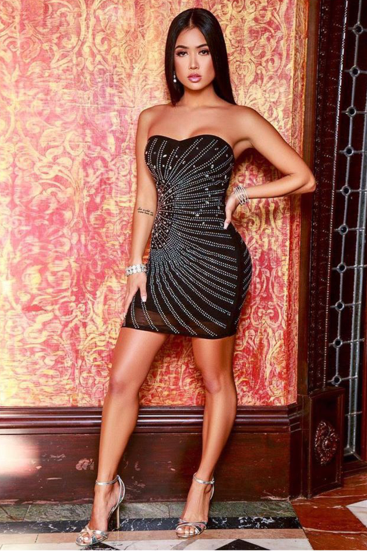 Black Sequin Strapless Bandage Dress - CHICIDA