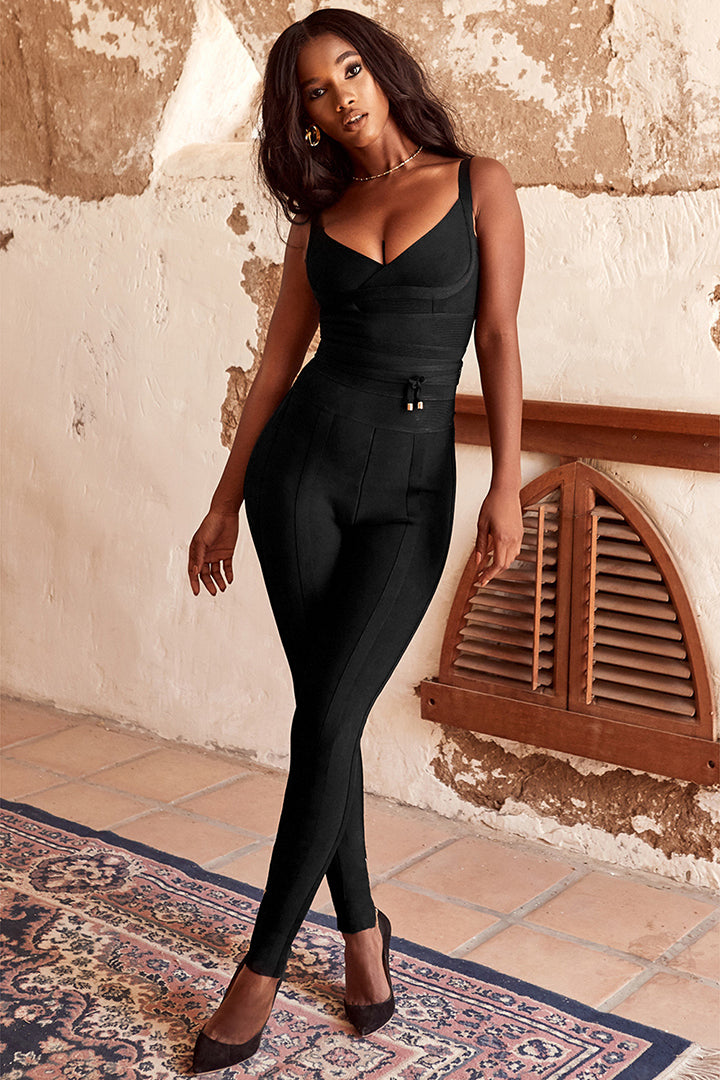Black Long Sleeve V Neck Backless Bodycon Jumpsuit